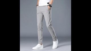 Мужские повседневные деловые брюки, классические прямые брюки средней длины, дышащие брюки
