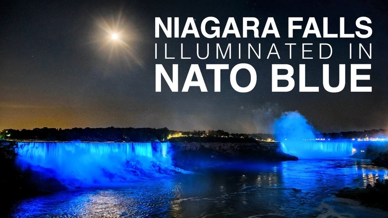 Niagara falls illuminated in NATO blue for Alliance's 70th anniversary