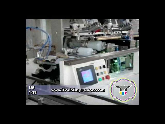 US102 Máquina de Serigrafía Automática con Secado UV para Envases Planos Cilíndricos y Ovales