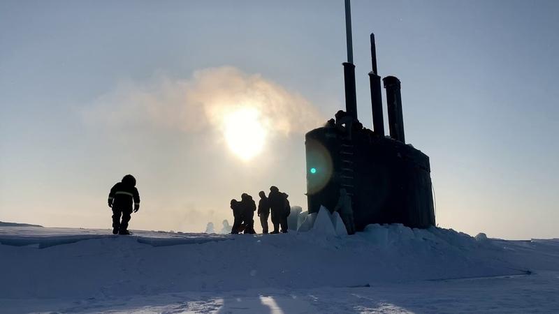 USS Toledo SSN 769 Surfaces at Ice Camp Seadragon ICEX 2020