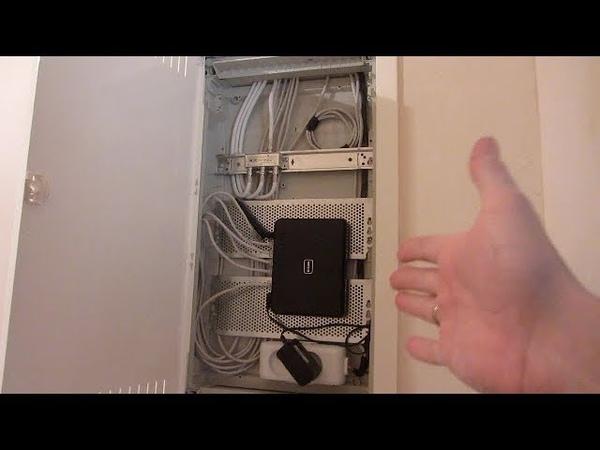Подключение ТВ сплиттера и роутера в слаботочном щитке Hager Volta