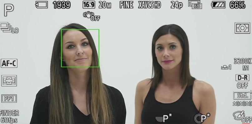 Камера Sony сама определила лицо и сфокусировалас на нем! Вопрос то ли это лицо, что нужно вам!?