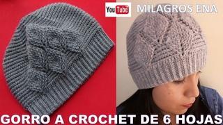 Gorro a crochet de 6 HOJAS EN RELIEVES paso a paso - MILAGROS ENA