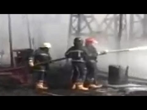 Тушение пожара на силовом трансформаторе на подстанции 400 кВ
