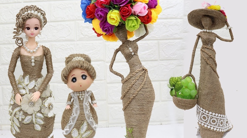 5 Beautiful Jute craft doll How to decorate doll from jute rope 2