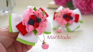 Милые Божьи Коровки из Ленты Видео МК Ribbon Ladybugs Flowers