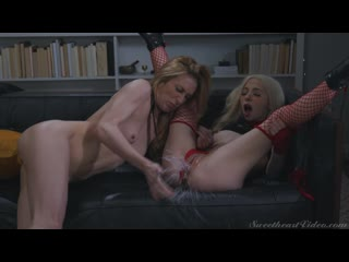 Natural Tits, Petite, Boots, Thong, Fishnet Stockings, Sex, Fetish, Kissing, Squirt, Ass Licking, Face Sitting, Lesbian, 1080p