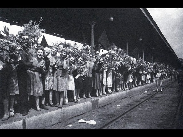 1945 Белорусский вокзал Первый поезд Победы прибыл в Москву 10 мая кинохроника Победы