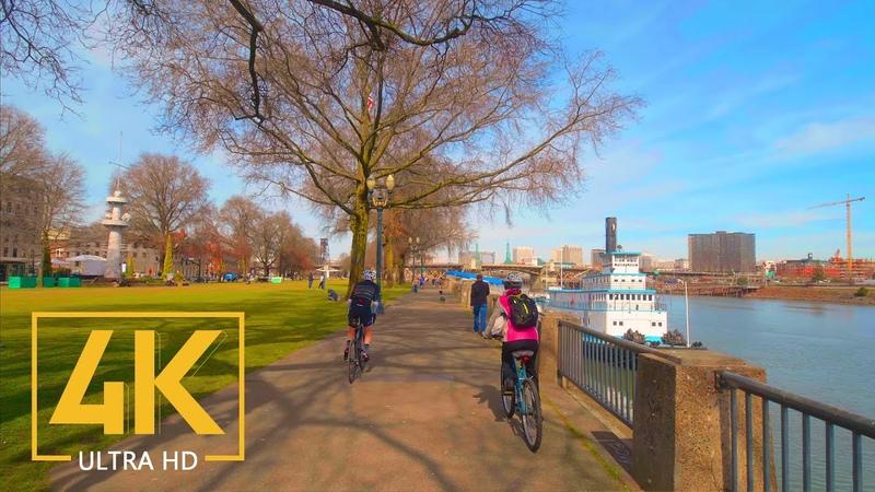 4K Virtual Walking Tour through Portland Downtown Oregon State City Walks