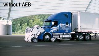 Large truck automatic emergency braking demonstration