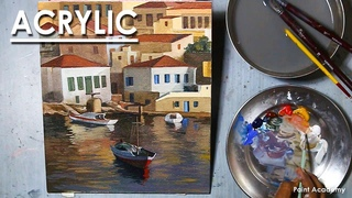 Acrylic Painting : A Composition on Halki, Greece | Boat Landscape Painting