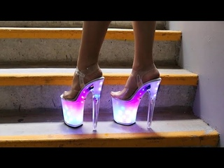 Review Walking In Pleaser DISCOLITE-808 USB Chargeable LED Light-Up 8 Inch High Heel Platform Shoes