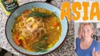 Суп Азия со стеклянными макарошками в Термомиксе. Thermomix