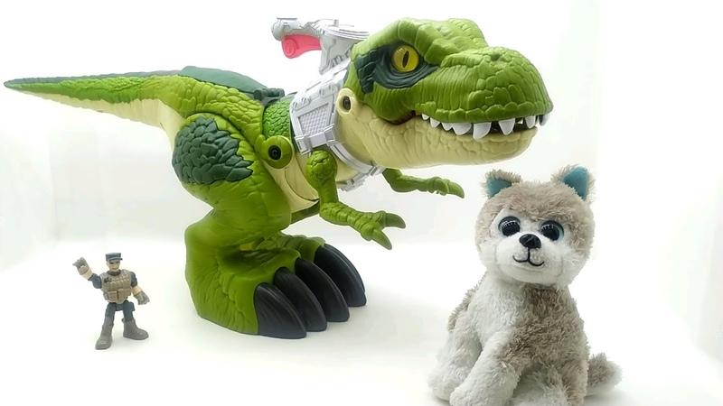 Т Рекс и щенок Митя Обзор игрушки IMAGINEXT Большой динозавр Ти Рекс GBN14