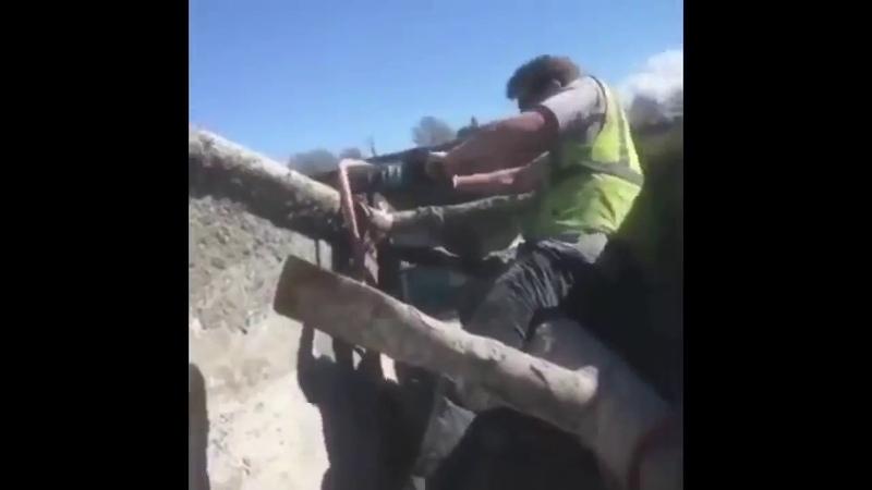 WE NEED THE BIG THING jackhammer Gatling gun mows down people meme