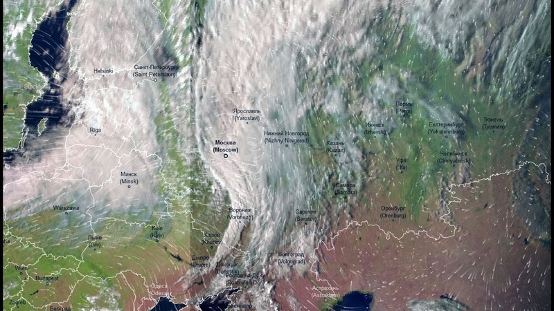 Атмосферный фронт поделивший ЕТР на лето и осень 8 09 20 Вид со спутника