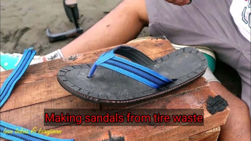 Making sandals from tire waste