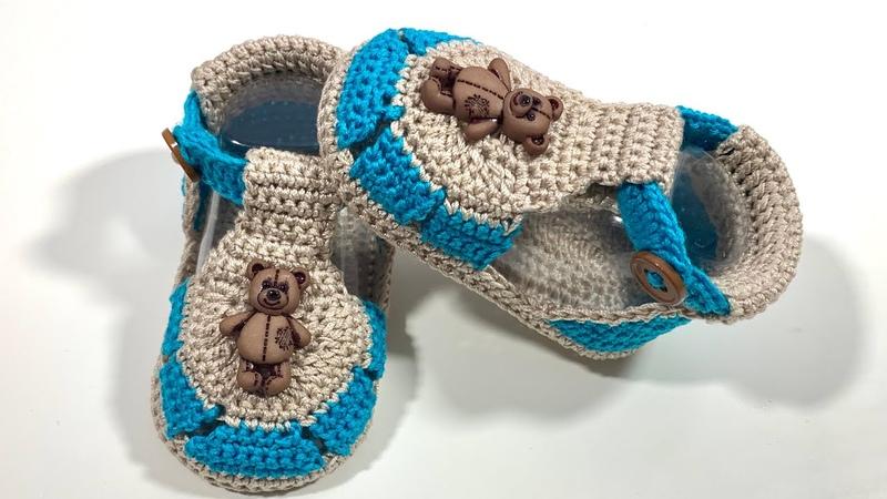 Huarachitos para bebe tejidos a crochet Modelo Unisex 0 3 Meses Paso a paso