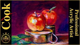 Apples on Tin Cups from Yesteryear Quarantine Quickie #18 Acrylic Painting with Ginger Cook