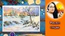 ВИДЕО УРОК\TUTORIAL Рисуем гуашью зимний пейзаж с церковью! Dari_Art