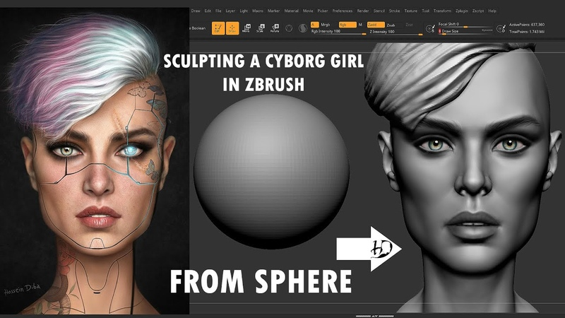 Sculpting a Cyborg Girl in ZBrush Part 1