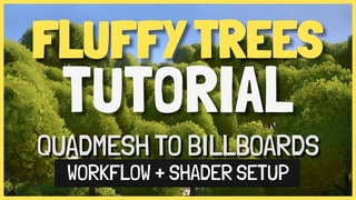 Fluffy stylized trees tutorial, using quadmesh-to-billboards shader in Unity