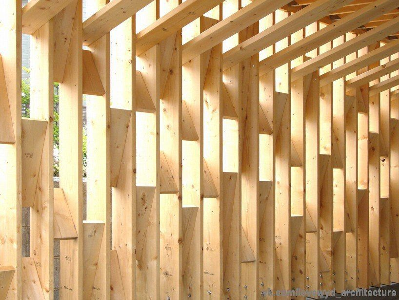 displaying traditional japanese techniques of timber construction, yoshichika takagi has conceived this wood shelter in hokkaido japan.
