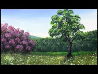 Рисуем Лесистые Горы, Кусты с цветами,Траву Акрилом. Mountains, Bushes, Grass. Acrylic