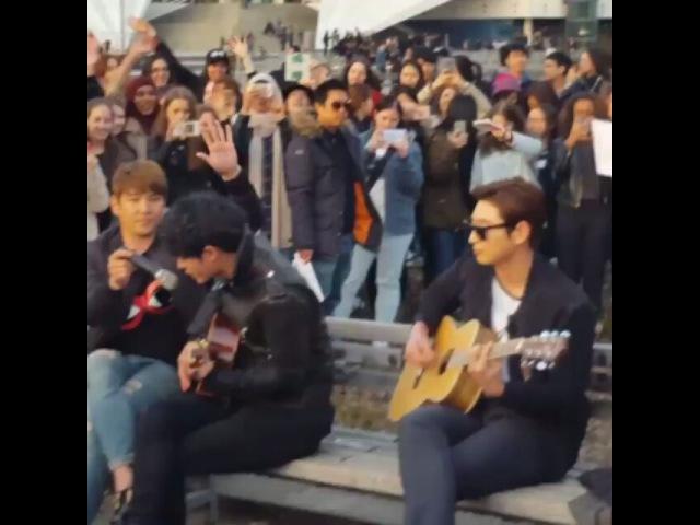 """Joyz Gee 김혜진 on Instagram 160408 Kangin Jinwoon and Joonyoung's street performance in Alexanderplatz Berlin hitmaker kangin jungjoonyoung jinwoon…"""""""