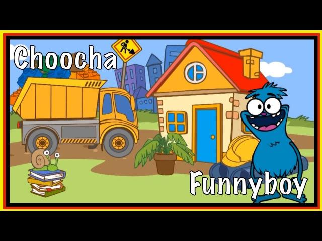 Kids English | Choocha Funnyboy Clown Interactive Cartoon Games - Build a House Garage!