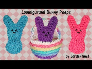 3D Easter Bunny Peeps Loomigurumi Amigurumi Rainbow Loom Band Crochet Hook Only
