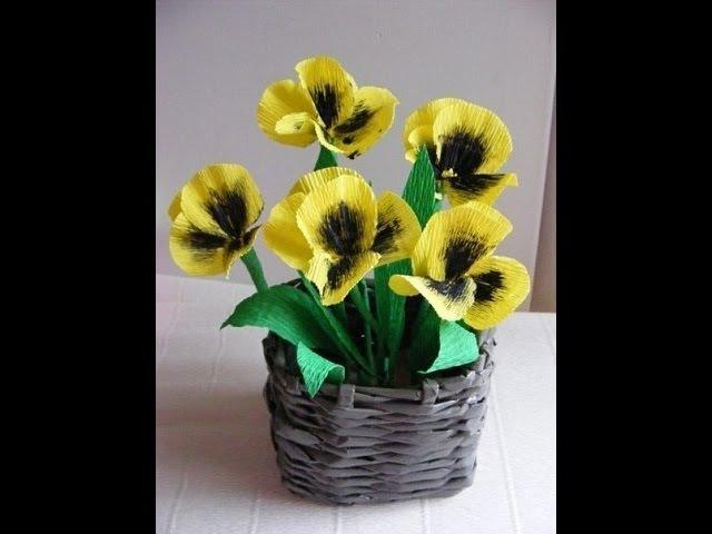 цветы анютины глазки из гофрированной бумаги flowers pansies corrugated paper