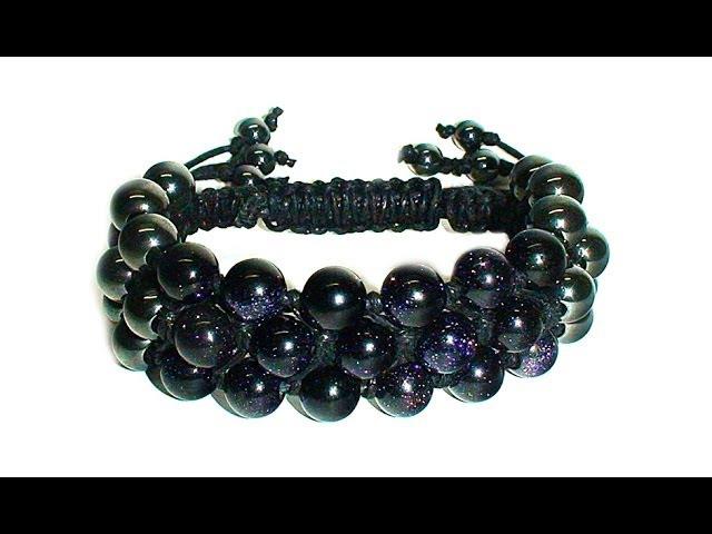 Tutorial Triple shamballa bracelet Тройной браслет шамбала