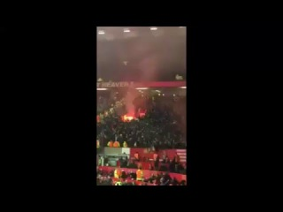 Liverpool FC fans celebrating at Old Trafford tonight