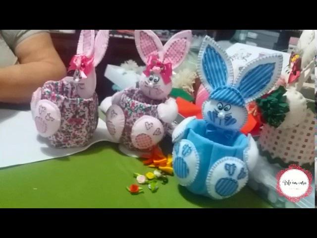 Coelhinhos da Páscoa feitos com garrafa pet e feltro Parte 2
