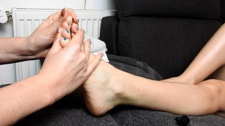 Foot massage with oil, scratching and ticklingASMR