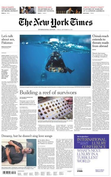 International New York Times  22 September 2017