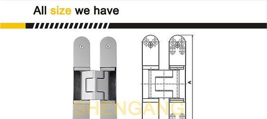 Fictory Hidden Hinge-180 Degree Zinc Alloy Invisible Folding Door Cross Hidden Hinges Size : S