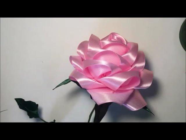 Большая роза из атласной ленты Big rose of satin ribbon