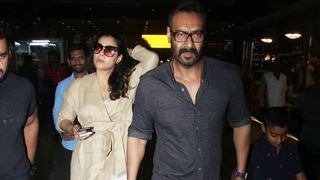 Ajay Devgan With Wife Kajol & Son Yug Spotted At Airport