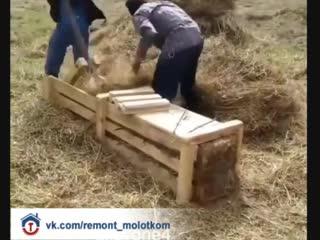 Интересная приспособа для прессовки сена