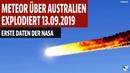Meteor über Australien explodiert Erse Daten der NASA