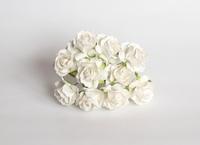 000019 Кудрявые розы 3 см БЕЛЫЙ  1 шт - 12 руб  диаметр 3 см высота 2 см длина стебля 8 см