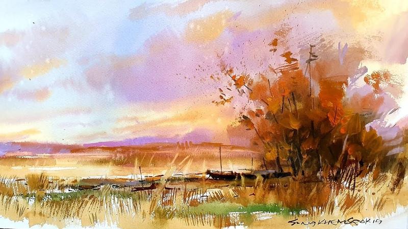 [낙동강변의노을] watercolor painting color [水彩畵] 갈대그리기동영상
