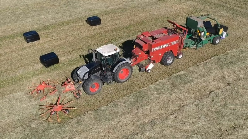 Raking baling wrapping grass silage in one pass!