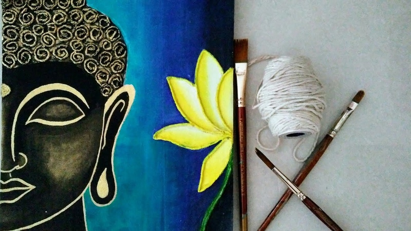 Texture Lord Buddha Painting for beginners || Buddha Thread Art || Lord Buddha Acrylic painting ||