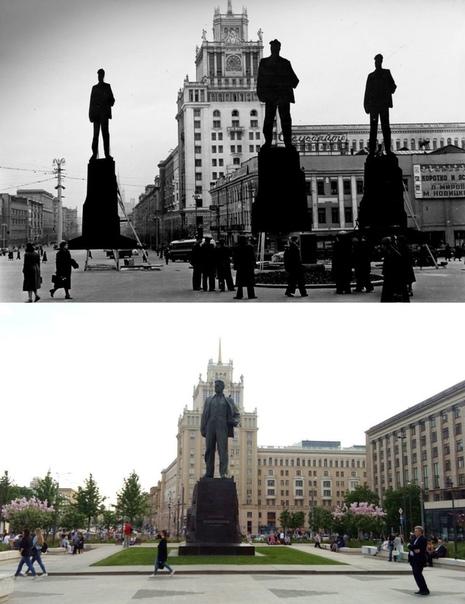 Нет, у вас не троится в глазах, на верхнем кадре кинохроники 1956-го года запечатлён процесс подбора наиболее подходящего места для установки памятника В В. Маяковскому. Для чего были