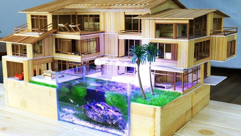 Tự làm Nhà Tăm mô hình kết hợp Bể thủy sinh mini