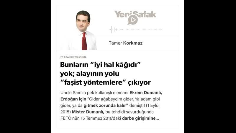 """Tamer Korkmaz Bunların iyi hal kâğıdı"""" yok 28 12 2018"""