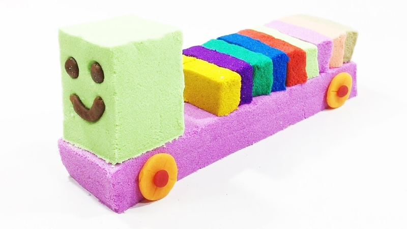 How To Make Kinetic Sand Train Toys | Learn Colors For Kids Children